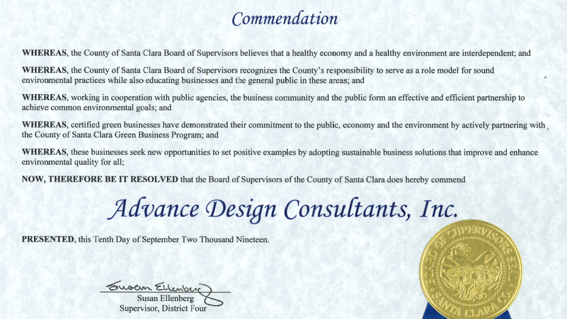 ADC Green Business Commendation